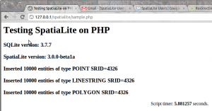 Sample spatialite with PHP screen