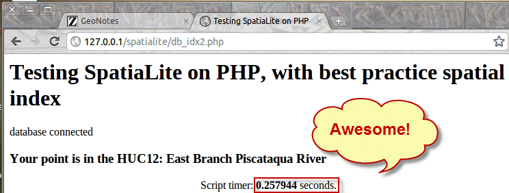 PHP page with more features, best spatial index, and extra queries removed