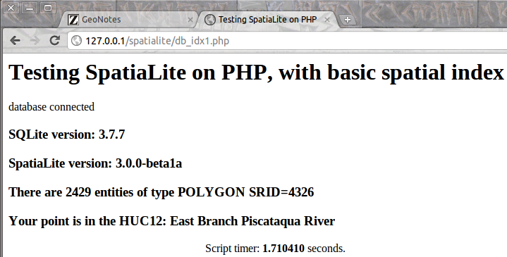 PHP page with more features and some spatial index in query